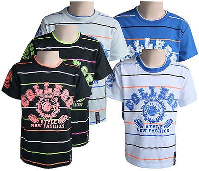 9d132e13c Boys Kids T-Shirts Casual Wear Crew Neck White Short Sleeve Striped Tops Yr  4-14