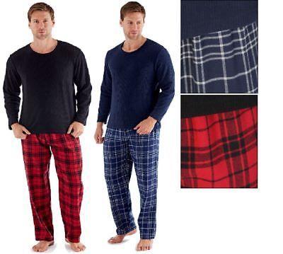 Mens Fleece Pyjama Set Flannel Cotton Check Harvey James Heritage