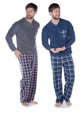 Mens Harvey James Fleece Thermal Pyjama Set Top Pants Check Pattern Lounge Wear