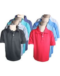 Boys Kids Polo T-shirts Plain Casual Wear Short Sleeve Soft Tops Tees Yr 5 to 13