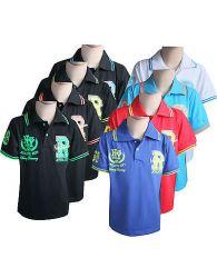 Boys Kids Sports T-shirts Casual Short Sleeve Black Collared R Print Top Yr 4-14