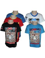 Boys Kids T-Shirts Casual Wear Crew Neck Tiger Print Short Sleeve BLUE Tops 2-14