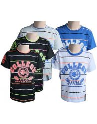 Boys Kids T-Shirts Casual Wear Crew Neck White Short Sleeve Striped Tops Yr 4-14