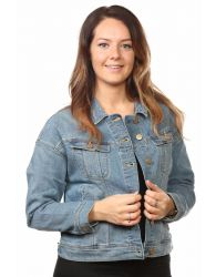 Ladies denim jackets casual wear Jean mix material flap pocket blue Second XS-L
