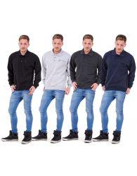 New Men's Polo Long Sleeve Three Button Zip Pocket Sweatshirt Top Jumper M - XXL
