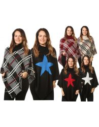 Plus Ladies Women's Knitted Check Star Ponchos Cardigan Jumpers Tops UK One Size