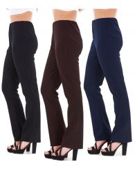 Ladies Women's Finely Ribbed Bootleg Stretch Trousers Pants Unbranded Size 10-26