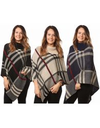 Ladies Women's Tartan Knitted Check Poncho Cardigan Jumpers Top UK One Size Plus