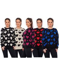 New Ladies Heart Skull Knitted Crew Neck Pullover Jumpers Sweaters UK Plus Sizes