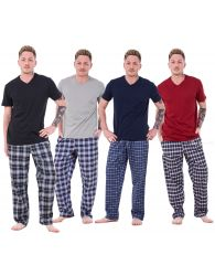 Mens Pyjama Sets Rich Cotton Woven check bottoms Lounge Pants Lt Weight T-shirts