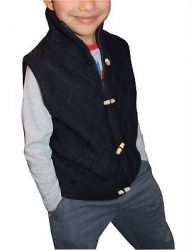 Boys Kids Cable Knit Sleeveless Zipper Button Jumper Cardigans Navy 3 to 8 Years