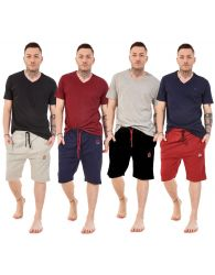 Men Jersey Pyjama Set Short V-Neck Cotton Lounge Wear T-Shirt Nightwear M to XXL