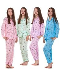 Kids New Girls Pyjamas Teddy print Long Sleeve Pocket Soft Nightwear Year 4 to14