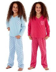 Kids Girls Pyjama V Neck Micro Fleece Star print Selena Girl Soft Nightwear 7-13