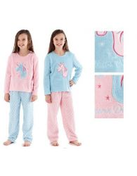 Girls Coral Fleece Pyjamas Unicorn Dreams Embroidered Soft Warm Selena Nightwear