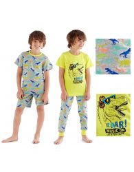 Boys Dinosaur Pyjama Set Shorts Summer Lightweight Short Sleeve Long cuff Pants