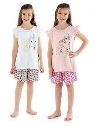 Girls New Short Pyjama Set Crew Neck 100% Cotton Summer Floral Unicorn PJs 5-12
