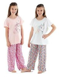 Girls New Pajama Set 3/4 Paints Crew Neck 100% Cotton Floral Unicorn PJs 5 to 12