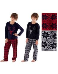 Kids New Fleece Pyjama Set Crew Neck Stag Face Heritage LoungeWear Warm PJs 5-13