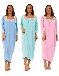 Women Long Nightdress Lace 100% Cotton 3/4 Sleeve Nightgowns Sleepwear M-XXL