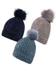 Ladies ribbed Windproof Chenille Turn up Pom Navy Mink Turq Hats Caps one size