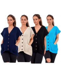 New Plus Size Women Moss Knitted Waistcoat Pockets Sleeveless Buttons Cardigan