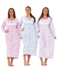 Women Warm Nightwear Floral Print 100% Brushed Cotton Long Sleeve LongNightdress