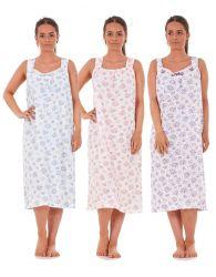 5a5e8332f3 Women Nightwear Rose Heart Print 100% Cotton Sleeveless Long Nightdress M  to 3XL
