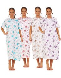 Women Long Nightdress 100% Cotton Floral Button Short Sleeve Nightwear M to 3XL