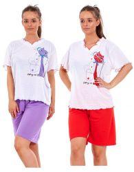 Ladies Pyjama Set Short 100% Cotton Cat Dot Printed V Neck Tee Loungewear S-XXXL