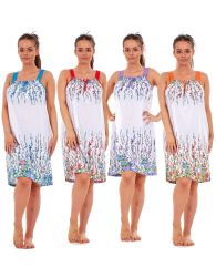 a756deb4dc Ladies Sleeveless Nightwear Floral 100% Cotton Summer Short Nightdress M to  XXXL