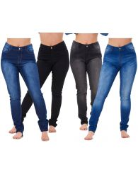 Ladies Stretch Jeans Denim cotton Zip fly High Waisted Slim Fit Trousers Pants