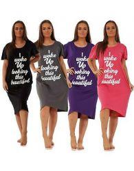 Ladies Nightdress Round Neck Printed Words Short Sleeve Nightie Nightshirt M-XXL