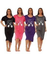 Ladies Nightwear Round Neck Teddy Bear Printed Short Sleeve Nightie Nightshirt
