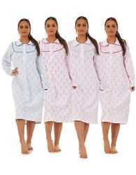 Ladies Fleece Nightdress Floral Print Long Sleeve Buttons Collar Thermal Nightie