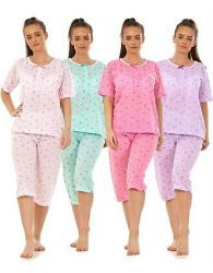 Ladies Pyjama Set Cropped Cotton Blend Floral Print Pocket Summer Capri S to XXL