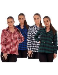 Ladies Flannel Shirts Brushed Cotton Check Long Sleeve Pleat Casual Shirt M-5XL