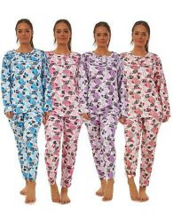 Ladies Fleece Pyjama Set Crew Neck Long Sleeve Buttons Thermal Lounge Wear