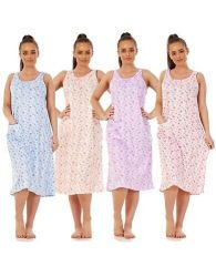 Ladies Sleeveless Nightwear 100% Cotton Printed Pocket Summer Nightdress M - XXL