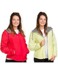 Ladies Hooded Jacket Cotton Lining Zipper Red Yellow Casual & Sports Outdoor