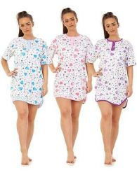 Ladies Nightwear 100% Cotton Short Sleeve button Blue Heart Nightshirt M to 3XL