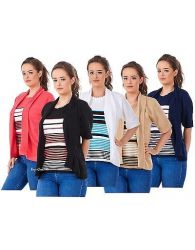 Ladies New Twin Set Striped Short Sleeve Crew Neck Knitted Cardigan Jumpers S-XL