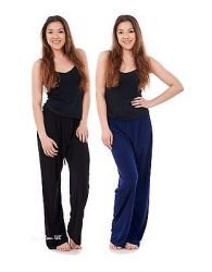 Ladies Women ITY Knit Fabric Trousers Elasticated Straight Pants Black Navy