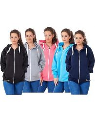 Ladies Plus Size Hoodies Branded Plain Zipper Hooded Top Sweatshirt 18 to 32