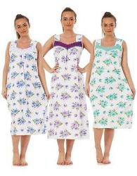 Ladies Nightwear Floral V Neck 100% Cotton Sleeveless Long Nightdress M to XXXL