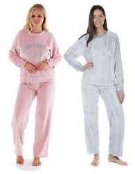 Ladies Cable Design Flannel Fleece Pyjama Set Long Sleeve Winter Loungewear 8-18