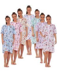 Ladies Nightwear 100% Cotton Short Sleeve button Blue Floral Nightshirt M to 3XL