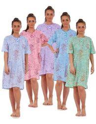 Ladies Women Nightwear 100% Cotton short sleeve Floral Top Nightshirt M to 3XL
