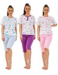 Ladies Pyjama Set Short 100% Cotton Printed Short Sleeve Capri Summer PJ's M-3XL