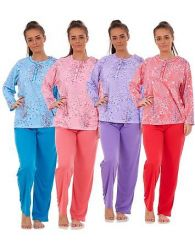 Ladies Pyjama Set 100%Cotton Printed Long sleeve Crewneck Button Warm  Loungewear 59bc71289